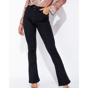 Black High Waist Skinny Flare Jeans Denim